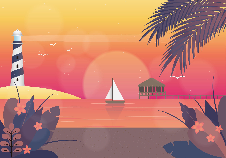 Landscape Illustration Vector Free: Vector Sunset Landscape Illustration