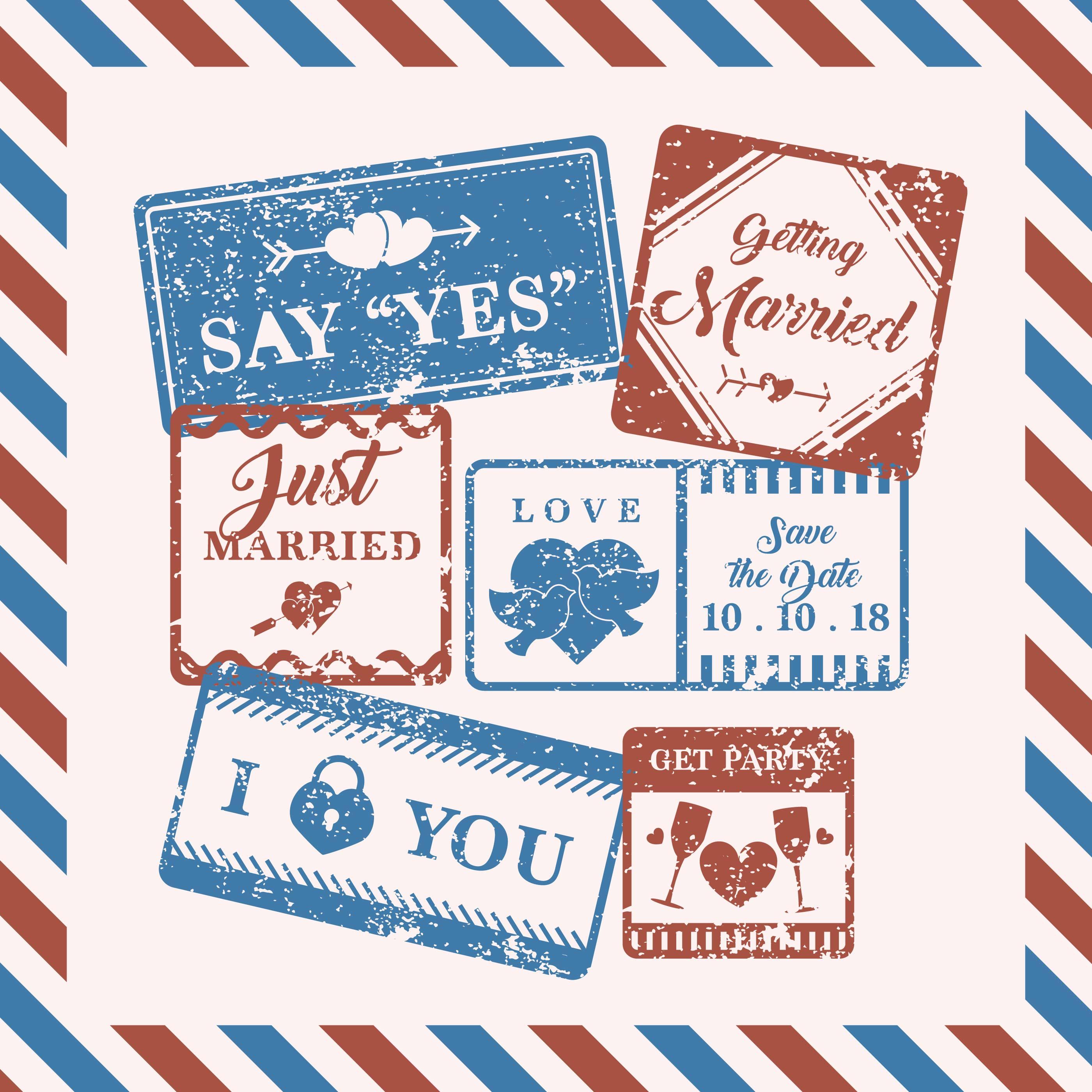 Vintage Wedding Stamp Download Free Vectors Clipart