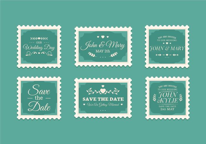 Collection de timbres de mariage Vintage