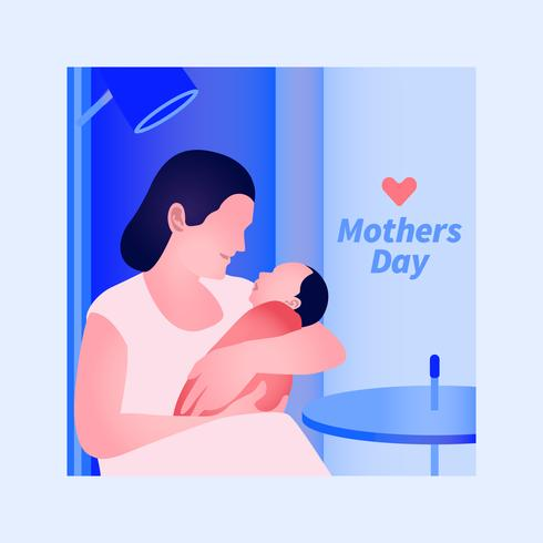 Elegant Modern Greeting Card Design With Mother And Baby Illustration