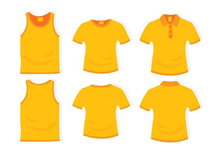 Modèle de conception plate de vêtements jaunes
