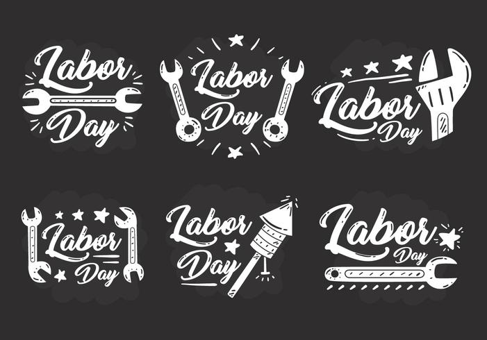 labor day chalkdarw badge vektorer
