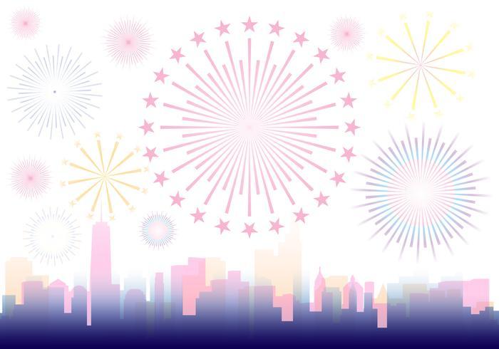 Fireworks Over A City Illustration