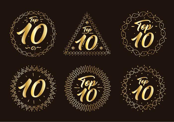 Vector de número de gráfico superior de oro