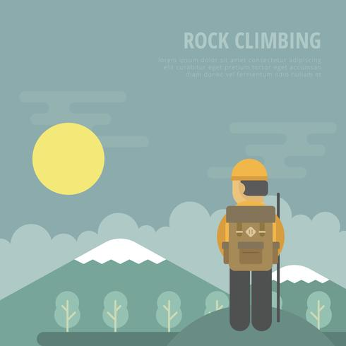 Rappel Illustration with Man with Bag and Mountain. vector