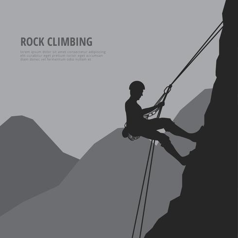 Ilustración de rappel con escaladores y montaña