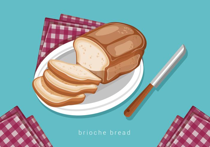 Brioche Bread in Plate Vector Illustration