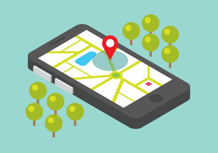 Mobile Map With Location Sign vector