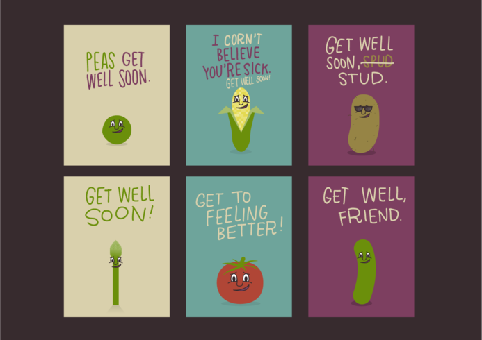 Vegetable Get Well Soon Cards Free Vector