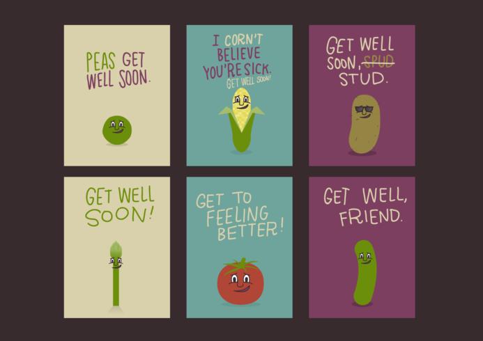 Légumes Get Well Soon Cartes vecteur libre