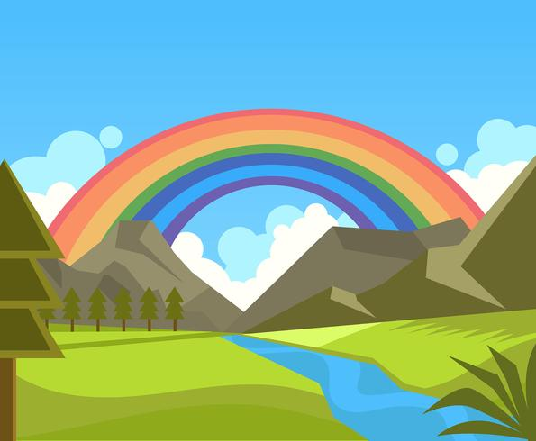 Rainbow Background in Nature Vector