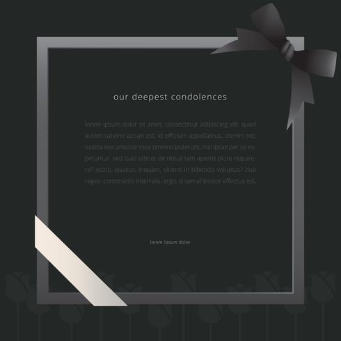 Elegant begravningskort med svart band och svart bakgrund.