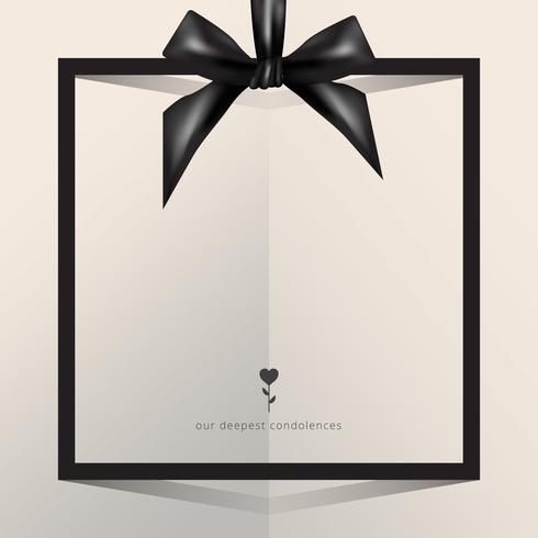 Condolences greetings with editable text template, with black ribbon and tie.