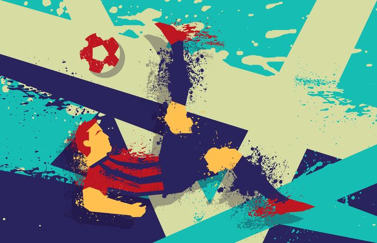Abstract Soccer Player Grunge Illustration Vector