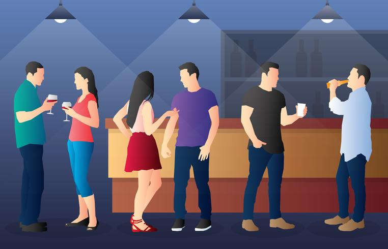 Cutout Illustration Of People Drinking In A Busy Bar In Night