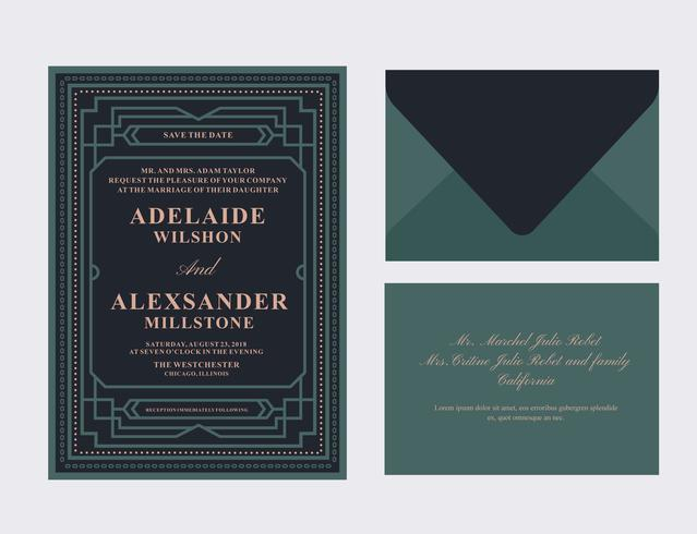 Art deco bröllopskort vektor