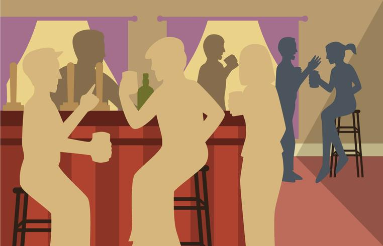 Clipart de Crowded Bar Silhouette