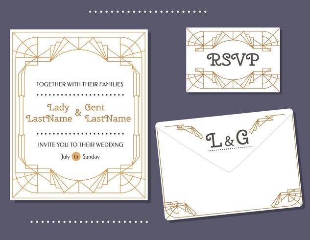 Art-Deco-Hochzeits-Karten-Vektor