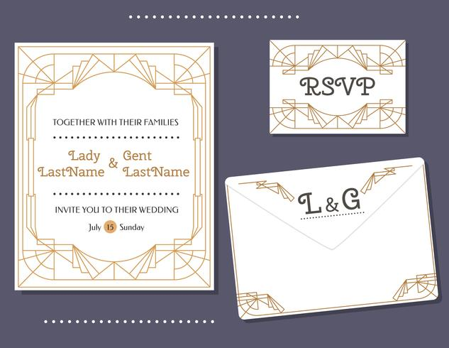 Art Deco Wedding Card Vector