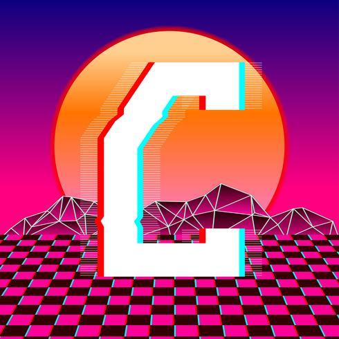 Lettre C Typographie Vecteur de Vaporwave