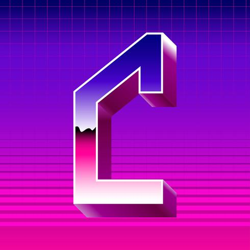 Letter C Typograpy Futuristic Vector