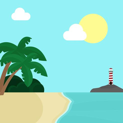 Tropical Beach Landscape With Lighthouse