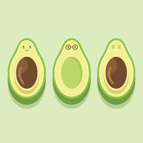 Cute Avocado Character Vector