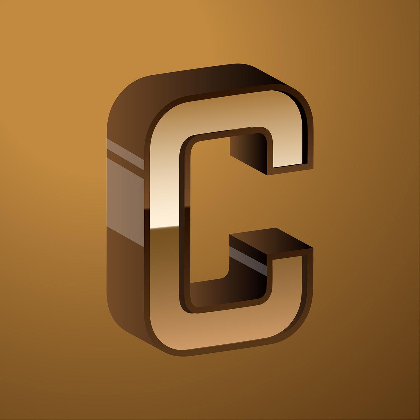 Letter C Typography 3d Vector