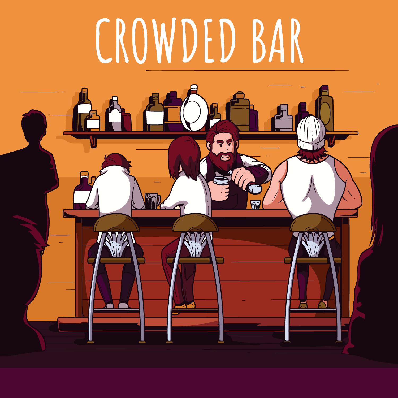 crowded bar illustration