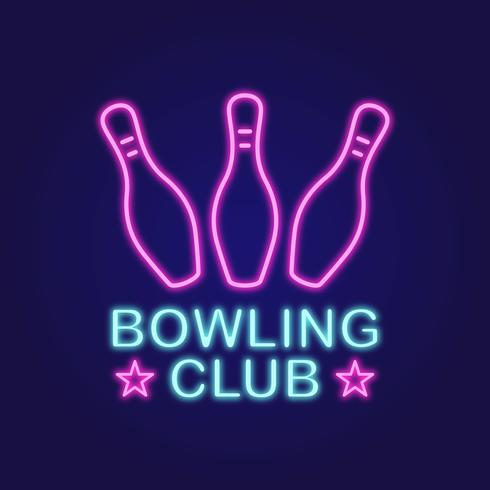 Bowling Club Neon Vector