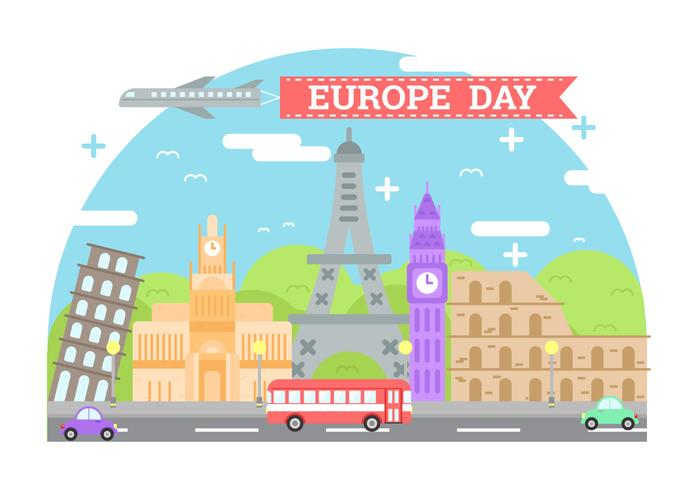 Europe Day Background Illustration vector