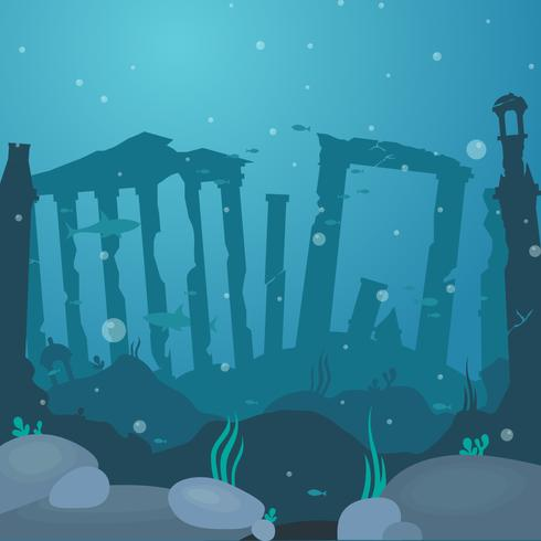 City Of Atlantis Vector Illustration