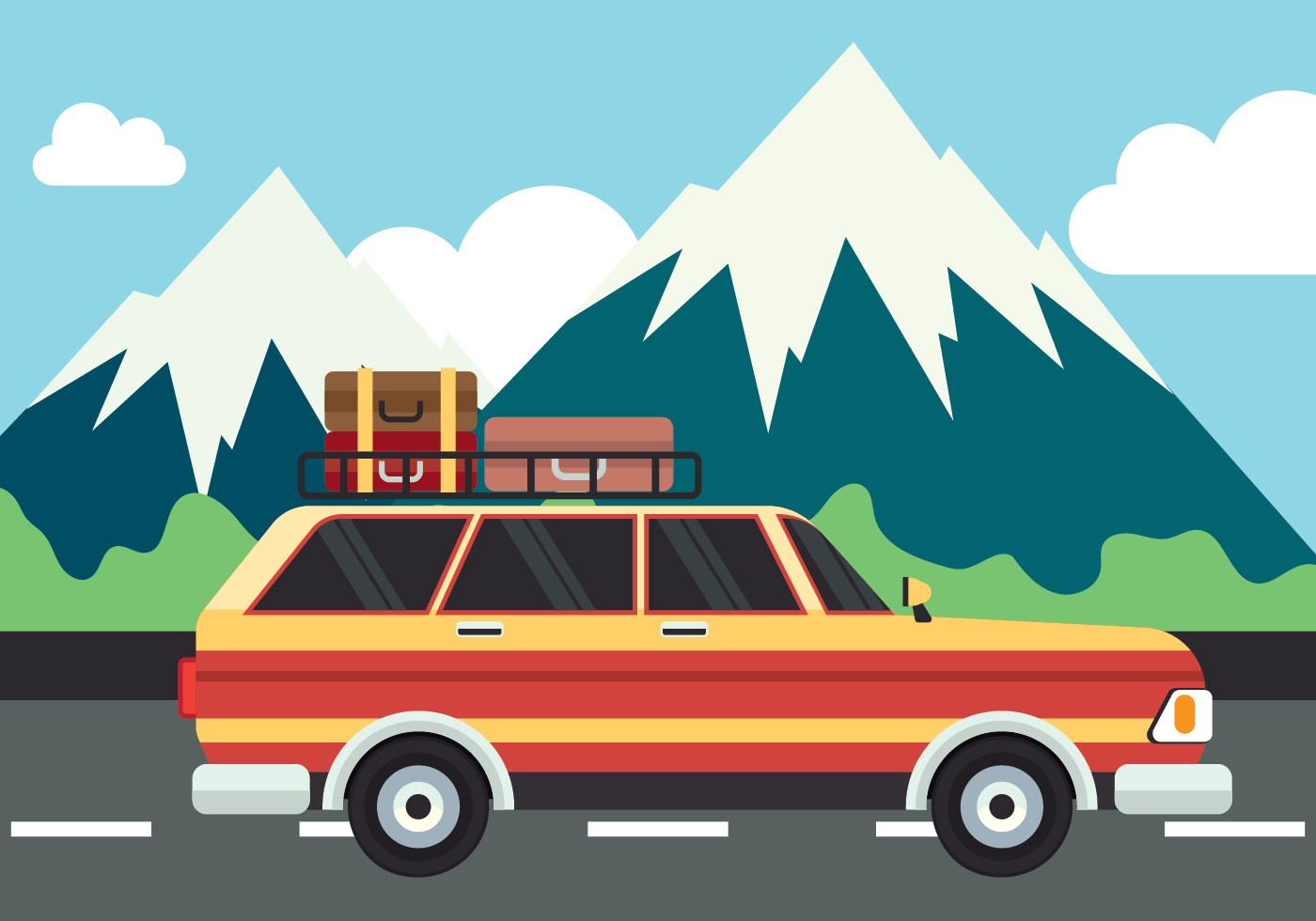 Road Trip Vector Illustration Download Free Vector Art Stock Graphics Amp Images