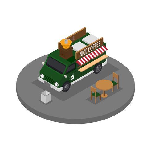 Vetor isométrico de caminhão de comida