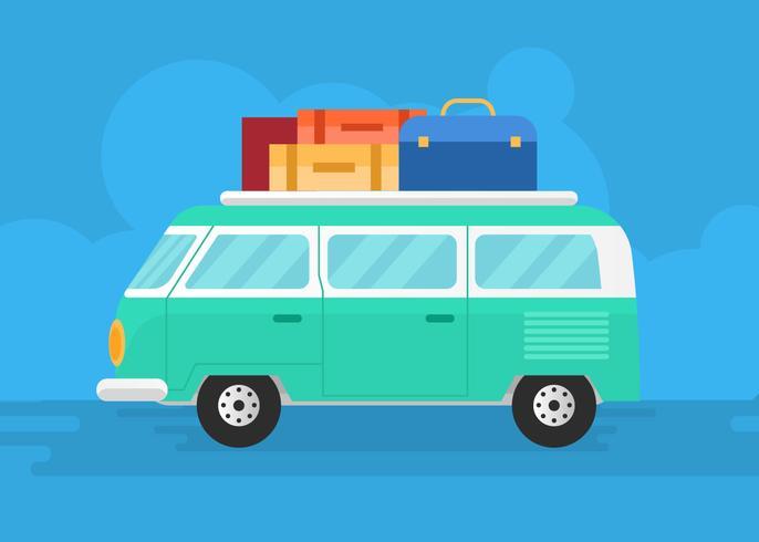 Viagem de carro van carro vector