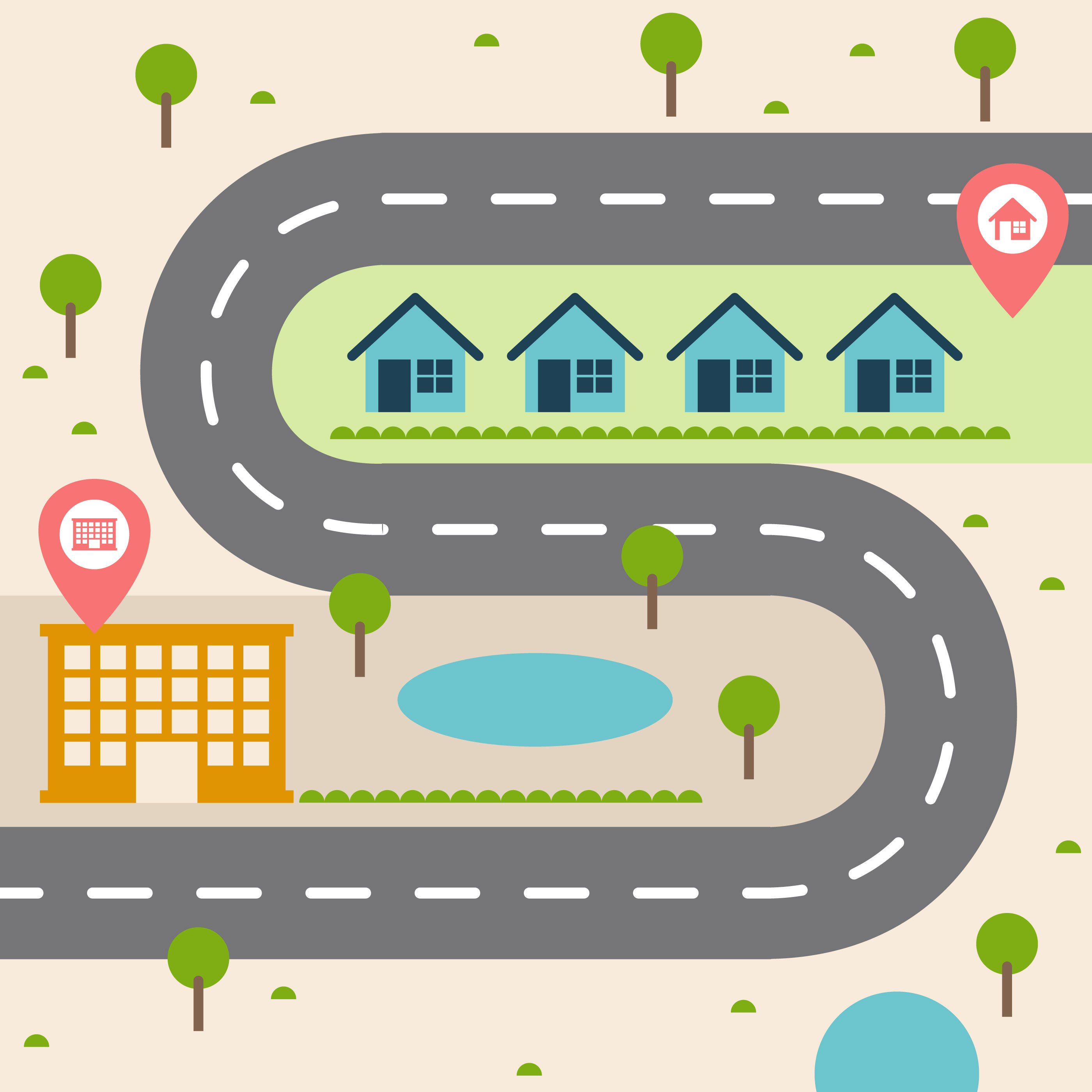 vector-road-map-illustration Simple World Map Road on