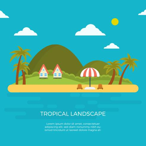 Illustration vectorielle de plat Tropical paysage vecteur