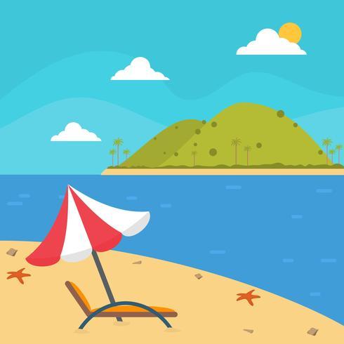 Flat Tropical Landscape Vector Illustration