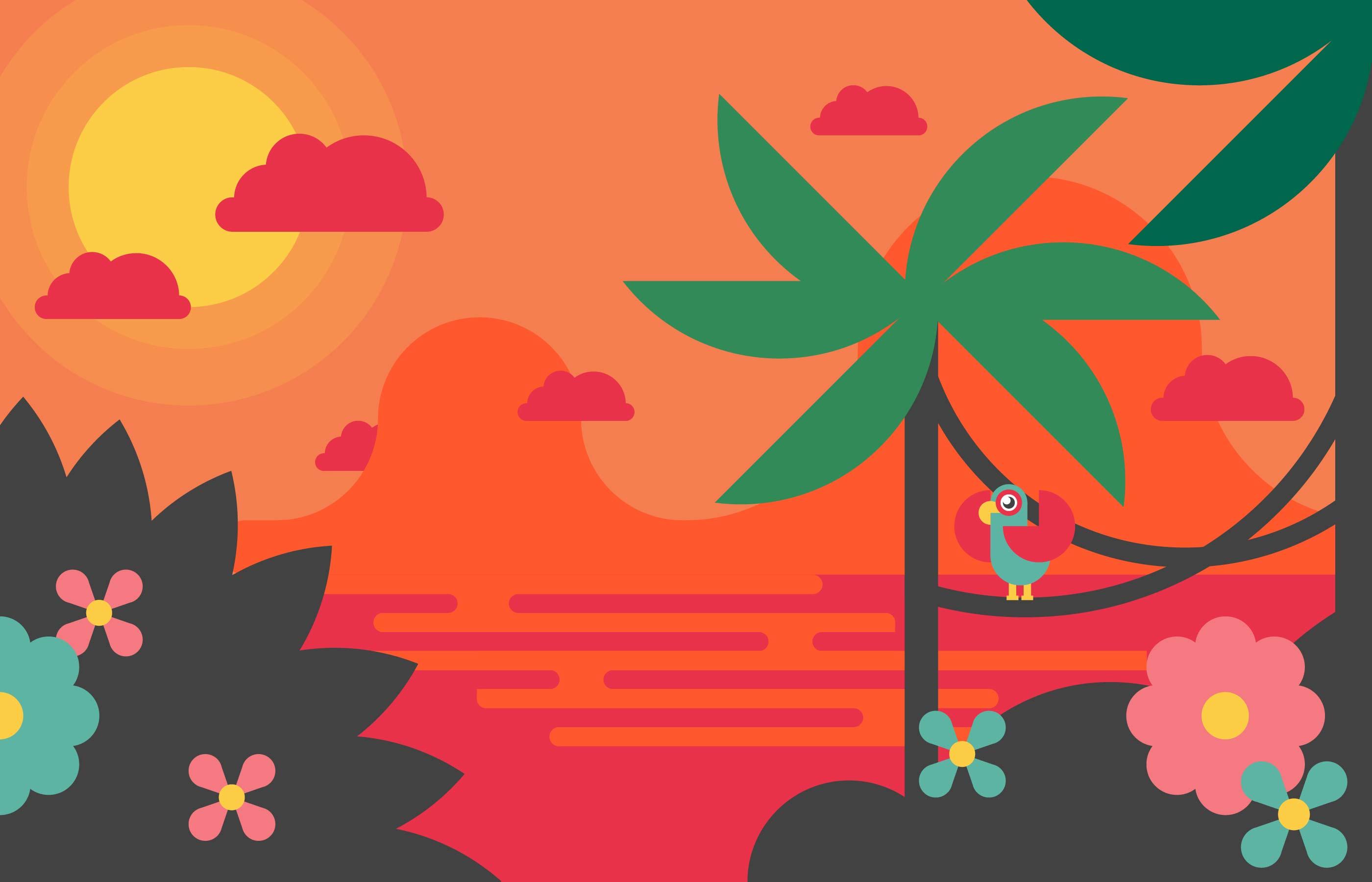 Landscape Illustration Vector Free: Tropical Landscape Flat Illustration Vector