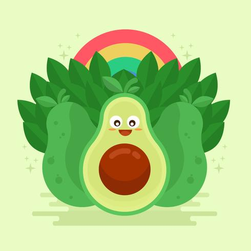 Avocado Kawai Vector Illustration