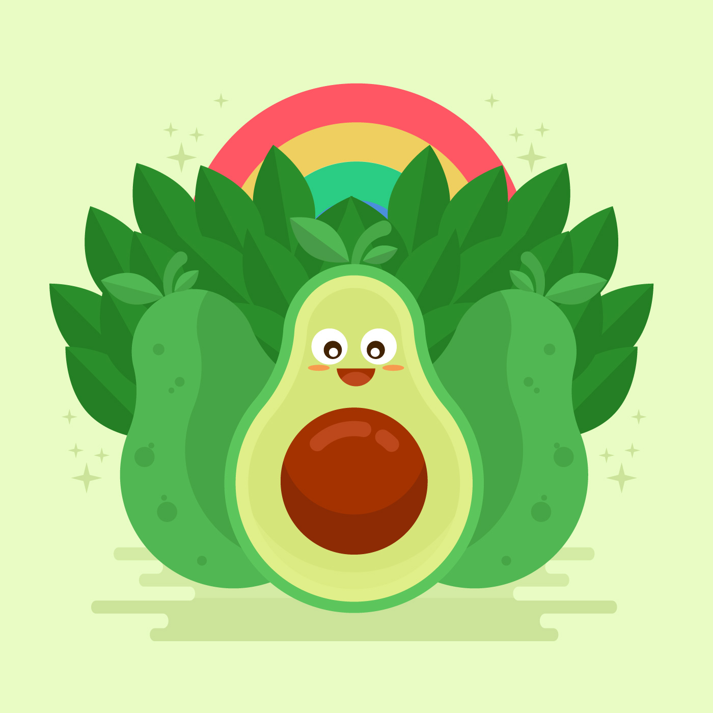 Avocado Kawai Vector Illustration Download Free Vector