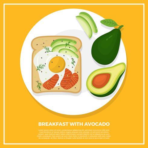 Prima colazione piana con l'illustrazione di vettore dell'avocado