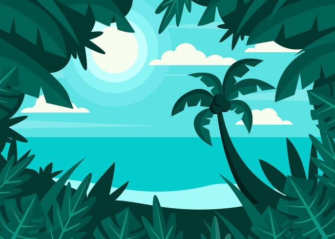 Tropical Beach Landscape - Download Free Vector Art, Stock Graphics & Images