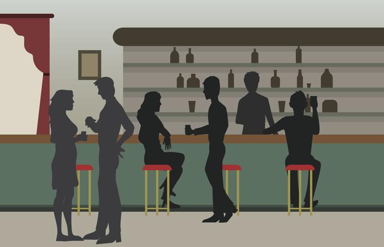 Vintage Crowded Bar illustration