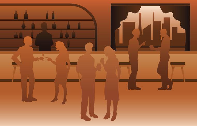Ilustración de barra de lujo lleno de gente