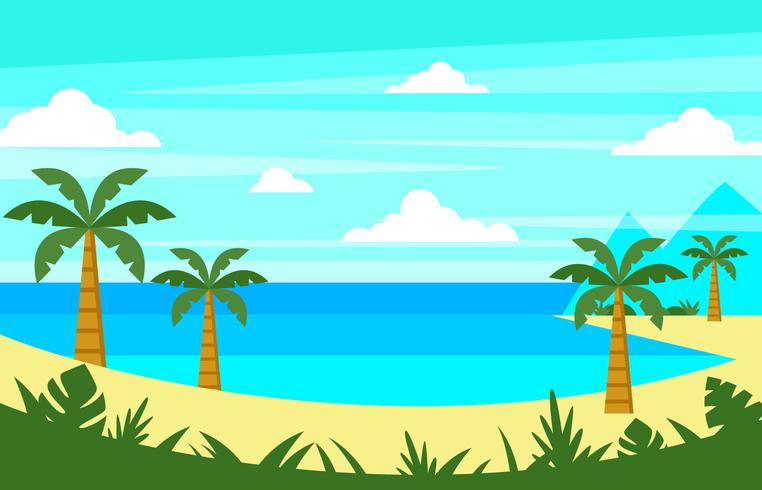Tropical Beach Landscape Vector - Download Free Vector Art, Stock Graphics & Images