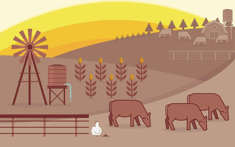 Cattle Illustration and Agriculture Farm