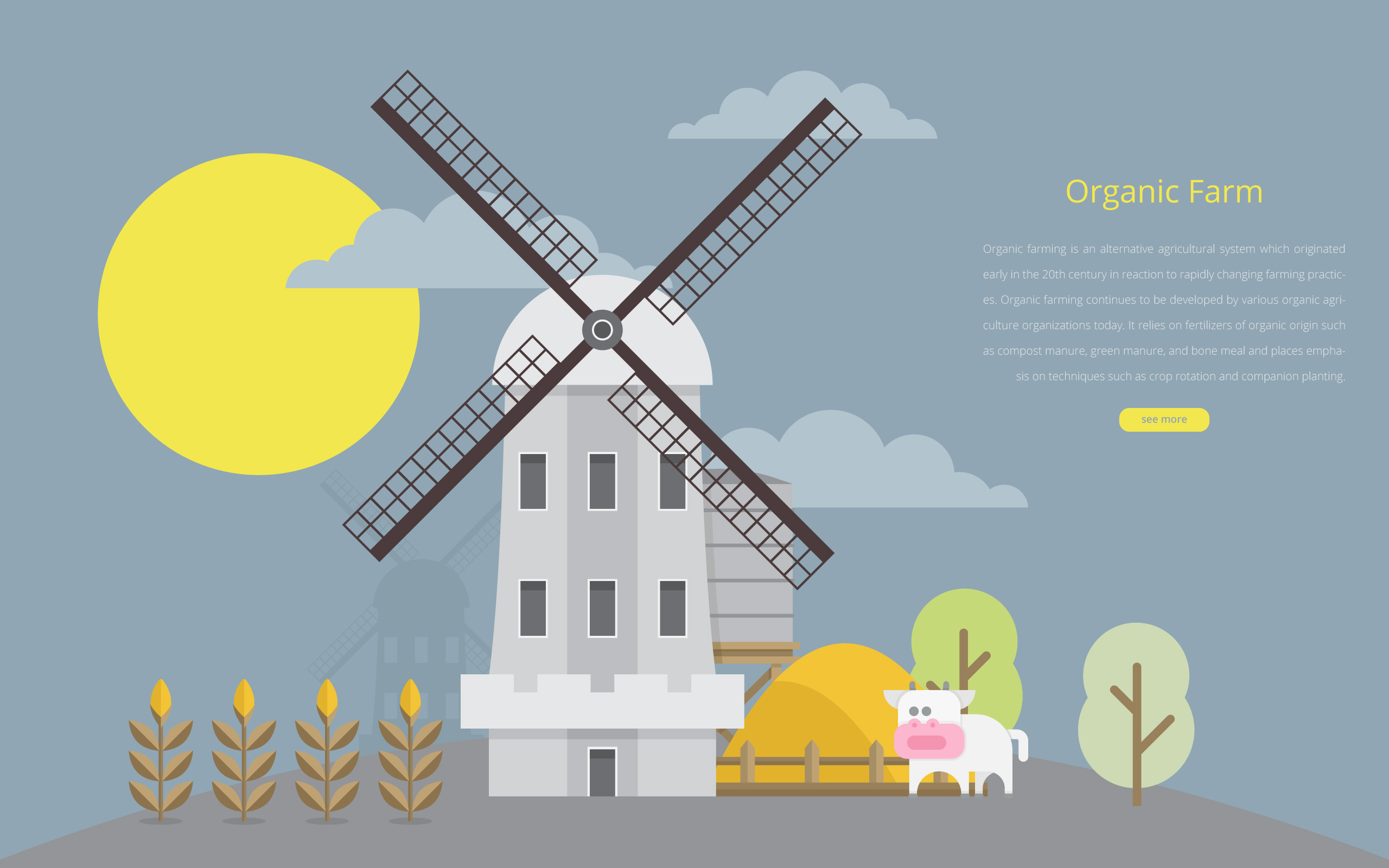 Cattle Illustration And Agriculture Farm With Windmill