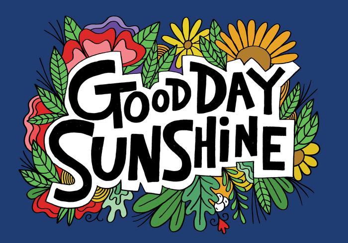 bra dag solsken bokstäver vektor