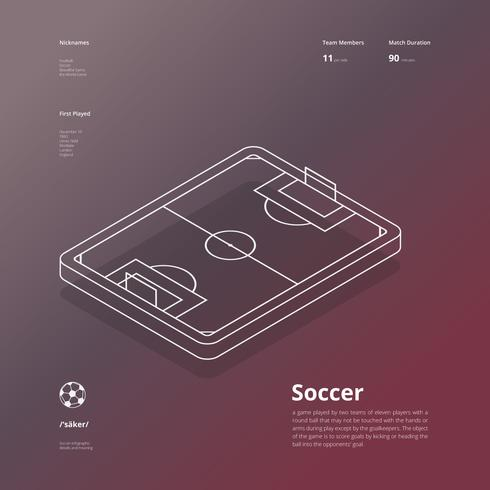 Infografía isométrica del fútbol, estilo moderno minimalista.